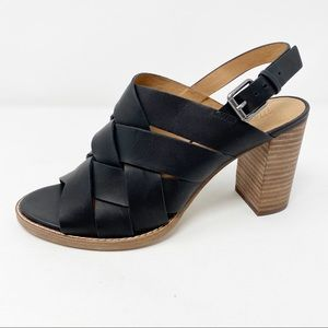 Madewell True Black Woven Leather CINDY Sandals